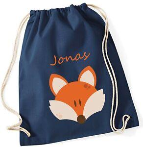 Turnbeutel mit Namen   Fuchs blau orange   Stoffbeutel für Kinder Jungen Mädchen