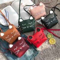 Mini Cat Leather Shoulder Bag Stylish Kids Girls Handbag Coin Purse Popular 889