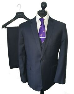 "Men's TED BAKER Premium ELEVATED **3 PIECE** Navy Suit 44-42S W36"" L30"" *VGC*"