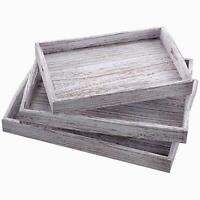 Farmhouse Serving White Rustic Wood Tray Handcrafted Home Serveware - Set of 3