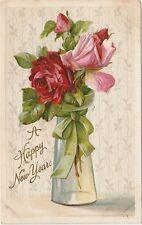 Happy New Year Vintage Greeting Postcard Embossed Roses in Vase Printed Germany
