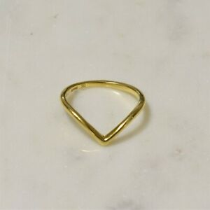 Genuine 925 Sterling Silver Gold Plated Chevron V shape Stacking Ring Size 7,8