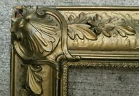 "Large Antique Ornate Wood Gesso Gilt Picture Frame Distressed 21 1/2"" x 35 1/2"""