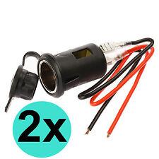 2x 12V Auto Motor KFZ Einbau Steckdose Zigarettenanzünder mit Kabel Bord Buchse