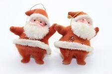 Vintage two small mini Flocked Santas Felt Santa Lot