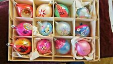 Antique 6 Indented & 6 Hand Painted Poland Christmas Tree Ornaments Original Box