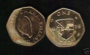 GHANA 1 CEDI KM-19 1979 CAURI FAO DEER LION ARMS LARGE AFRICA GHANIAN MONEY COIN