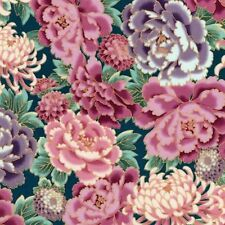 Japanese Garden Floral Multi Gold Met Highlights Cotton Quilting Fabric 1/2 YD