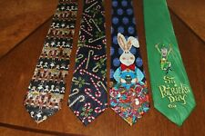 MEN'S LOT'S 4 HOLIDAY NECKTIES  Thanksgiving , X-mas, Easter and St Patty's H-14