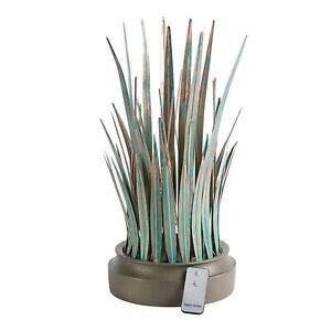 """Light-Up Ornamental Grass Sculpture Metal Grass Verdigris Finish LED Lighted 19"""""""