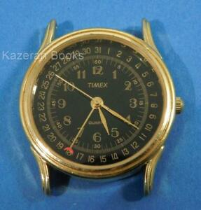 Vintage Mans TIMEX Pointer Date Quartz Black Dial Gold Plated Wristwatch Working