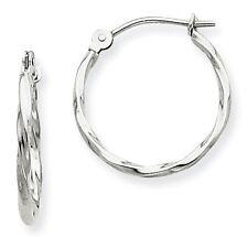 14k White Gold 1.5mm Twisted Hoop Earrings (0.5IN Long)