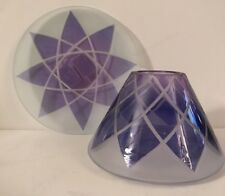 Yankee Candle PURPLE LOTUS Candle Shade & Tray for Med or Large Candle NIB