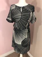 Per Una Ladies Monochrome Knee Length Dress Size 18/20