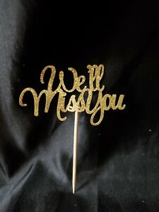 """24 Pcs Gold Glitter """"We'll Miss You"""" Cupcake Toppers"""