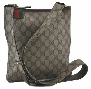 Auth GUCCI Web Sherry Line Shoulder Cross Body Bag GG PVC Leather Brown C9805