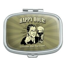 Happy Hour Gentlemen Start Your Livers Funny Humor Rectangle Pill Case Box