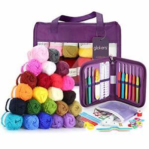 Full Crocheting Kit - Hooks & Yarn Set, 24 Balls of 3-Ply Acrylic Yarn & Needles