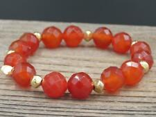 Yellow Gold over Sterling Silver & Red Carnelian Beaded Stretch Bracelet