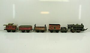 Antique Tin Toy Train Set Kraus Model RR 1904 Fandor Litho Wind Up NR!