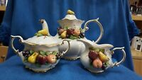 TUTI FRUITI Tea Service. Tea Pot, Creamer, Sugar Bowl & Lid, Appliqued Fruits
