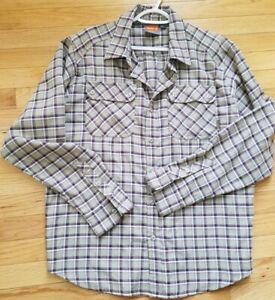 Merrell Mens Opti Wick shirt Medium long sleeve outdoor hiking Plaid tan pockets
