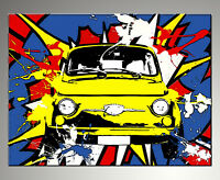 QUADRO MODERNO FIAT 500 POP ART ACTION  DIPINTO ASTRATTO A MANO  painting