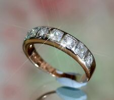 7 x 0.2ct Created Diamond Eternity Rose Gold GF Ring, Size: L / 6