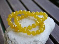 Gelbe Jade Perlen Kugel 8mm 1 Strang Sonnengelb Schmuck basteln Halbedelstein