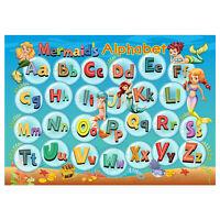 Abc Alphabet Poster, Kids Girl Educational Wall Chart, Classroom, Mermaid Theme
