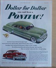 1950 magazine ad for Pontiac - Lowest priced Straight Eight. Silver Streak Style