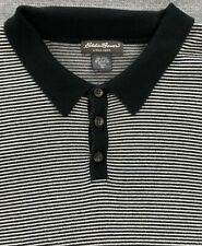 Eddie Bauer Men's Tall XL Striped Short Sleeve Polo Black Ivory Shirt Button up