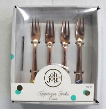 Oh Joy! Rose Gold Mini Appetizer Forks Colored Tips 4 count Stainless Steel