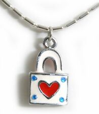 Süße PADLOCK Heart HERZ Schloß Halskette Rockabilly