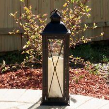 Smart Design Siena Metal Lantern with LED Candle, Black