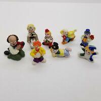 Vintage Bug House Gilde Enesco Porcelain And Plaster Clowns Lot Of 8 Figurines