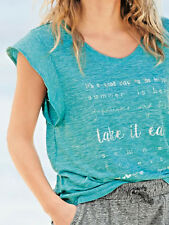 Next light teal marl baggy cap sleeve summer T shirt 'take it easy' szs 6 to 16