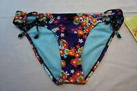 Hobie Sz S Bikini Bottom  Black Floral Side Tie Swimwear Swim Bottom