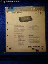Sony Service Manual XM 600 Power Amplifier (#2980)
