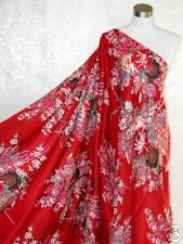 Pure Silk Satin Charmeuse Fabric Red Bouquet Per Yard