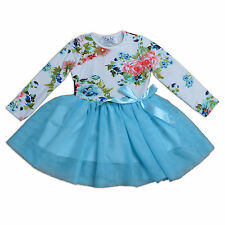 New Girls Long Sleeves White and Blue Flower Party Dress 18-24 Months