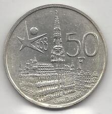 BELGIUM, 1958,  50 FRANCS, SILVER,  KM#150.1,  UNCIRCULATED