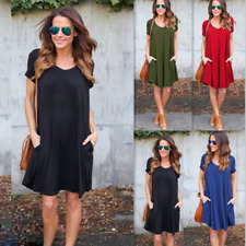 UK Womens Short Sleeve Crew Neck Long Tops Ladies Casual Beach Party Mini Dress