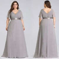 Ever-Pretty Chiffon Formal V-Neck Evening Grey Long Bridesmaid Dresses Plus Size