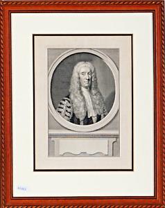 """Jacobus Houbraken: """"Sir John Strange, 1696-1754"""" Antique Copper Engraving c1755"""