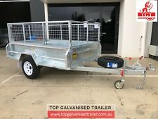 8x5 Single Axle Trailer with Brake 1400kg ATM 425mm Sides Galvanised 600mm Cage
