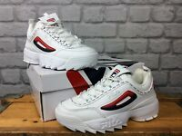 FILA LADIES UK 4.5 EU 38 DISRUPTOR II REPEAT WHITE LEATHER TRAINERS