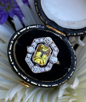 Art Deco Yellow Sapphire and Diamond Cluster Platinum Ring 0.50ct + 0.85ct