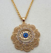 18K Gold Plated Turkish Greek Evil Eye Crystal Flower Nazar Pendant Necklace