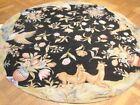 Round Needlepoint Hand-Woven 6x6 Black Nature Wildlife Modern Area Rug